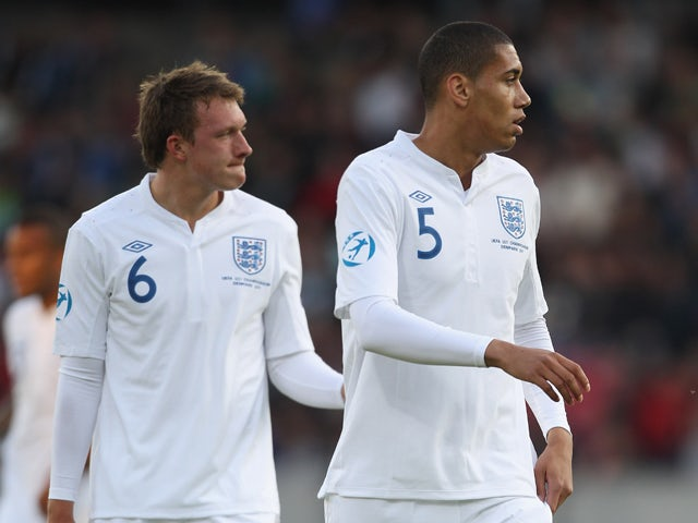 Phil Jones and Chris Smalling of England during the UEFA European Under-21 Championship Group B match between England and Spain at the Herning Stadium on June 12, 2011