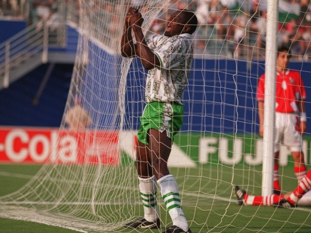 Rashidi Yekini celebrates scoring for Nigeria at the World Cup on June 21, 1994.