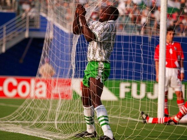 Rashidi Yekini celebrates scoring for Nigeria at the World Cup on June 21, 1994.