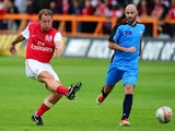 Ray Parlour of Arsenal Legends XI shoots at goal during the charity football match between Arsenal Legends XI and World Refugee Internally Displaced Persons (IDP) XI at Underhill Stadium on June 23, 2013