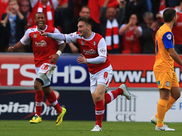 Lee Frecklington of Rotherham United celebrates scoring his teams second goal during the Sky Bet League One Play Off Semi Final Second Leg between at Rotherham United and Preston North End at The New York Stadium on May 15, 2014