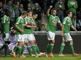 St Etienne's French defender Loic Perrin celebrates after scoring during the French L1 football match Saint-Etienne vs Ajaccio at the Geoffroy-Guichard stadium in Saint-Etienne, central France, on May 17, 2014