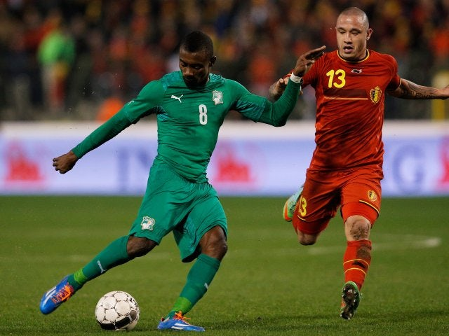 Former Chelsea striker Salomon Kalou shoots for goal while on international with Ivory Coast on March 05, 2014.