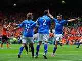 Steven May of St Johnstone celebrates scoring with his team mate, only to have the goal chopped off for handball during The William Hill Scottish Cup Final between St Johnstone and Dundee United at Celtic Park Stadium on May 17, 2014