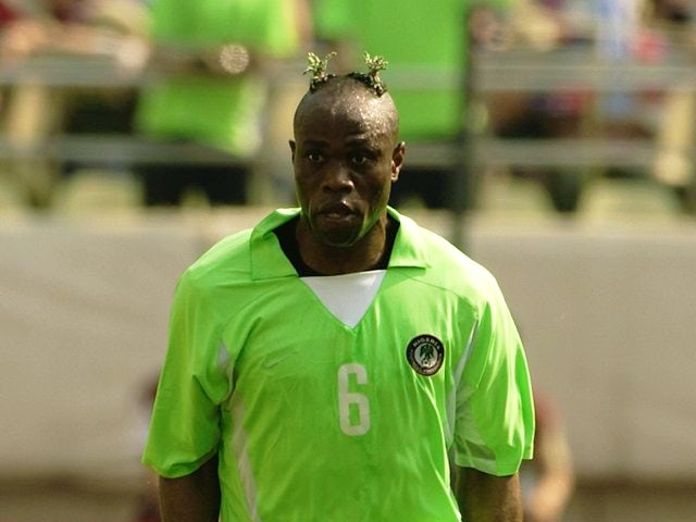 Former Derby County defender Taribo West in action for Nigeria on June 02, 2002.