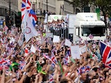 Members of Great Britain's Olympic and Paralympic teams enter Trafalgar Square during the London 2012 Victory Parade for Team GB and Paralympic GB athletes on September 10, 2012