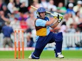Derbyshire's Wes Durston plays a shot through the covers on June 29, 2013.
