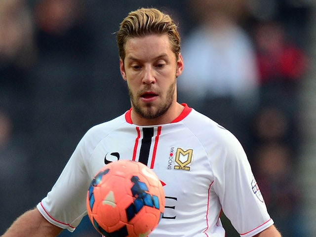 Alan Smith of MK Dons in action during the FA Cup Second match between MK Dons and Dover Athletic match at Stadium MK on December 7, 2013