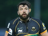 Alex Corbisiero of Northampton looks on during the Aviva Premiership semi final match between Northampton Saints and Leicester Tigers at Franklin's Gardens on May 16, 2014