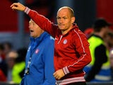 Hamilton Academical manager Alex Neil watches on during the Scottish Premiership Play-off Final First Leg, between Hamilton Academical and Hibernian on May 21, 2014