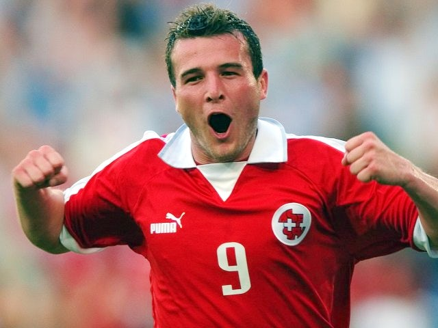 Switzerland striker Alexander Frei celebrates scoring against Russia on June 07, 2003.