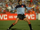 Former Barcelona goalkeeper Andoni Zubizaretta in action for Spain at the World Cup on June 18, 1986.