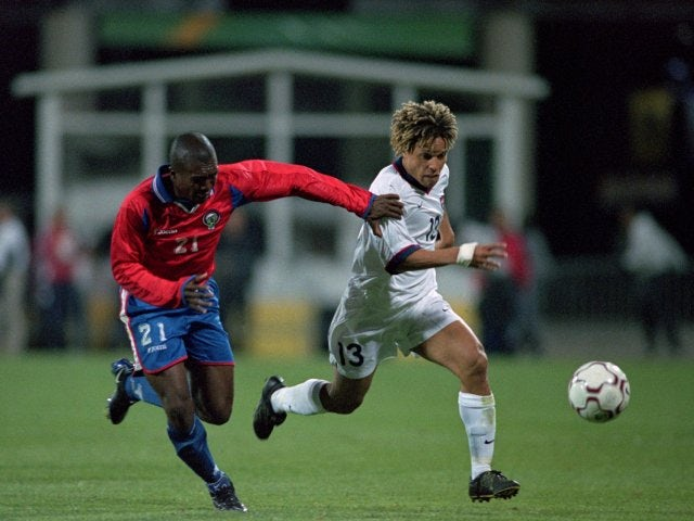 Midfielder Cobi Jones in action for the USA against Costa Rica on October 11, 2000.