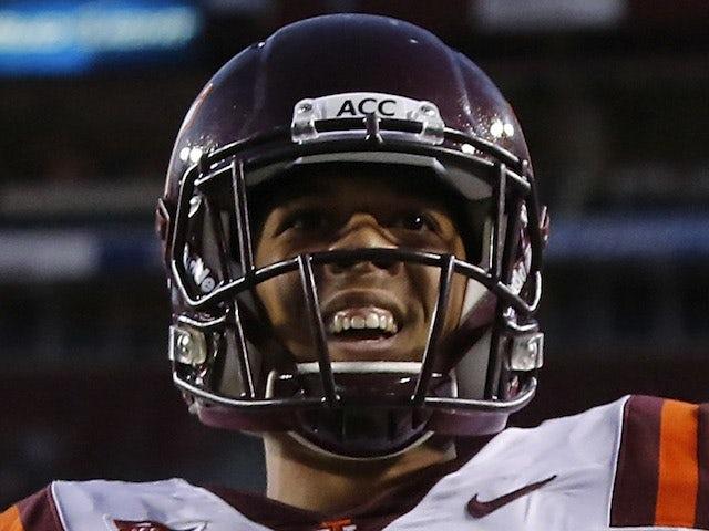 Receiver Corey Fuller #83 of the Virginia Tech Hokies scores a touchdown on September 29, 2012