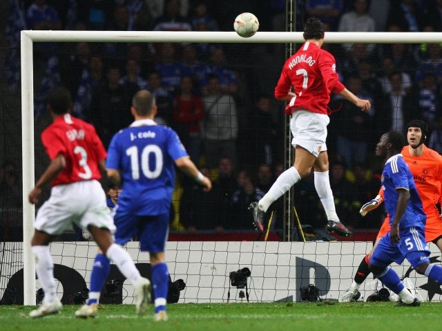 Cristiano Ronaldo, then of Manchester United, heads in the opening goal of the Champions League final on May 21, 2008.
