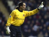 David Seaman in action for Arsenal against Newcastle United on March 02, 2002.
