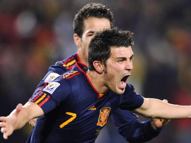 Atletico Madrid striker David Villa celebrates scoring for Spain at the World cup on July 03, 2010.