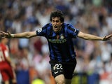 Inter Milan's Argentinian forward Diego Milito celebrates after scoring during the UEFA Champions League final football match Inter Milan against Bayern Munich on May 22, 2010