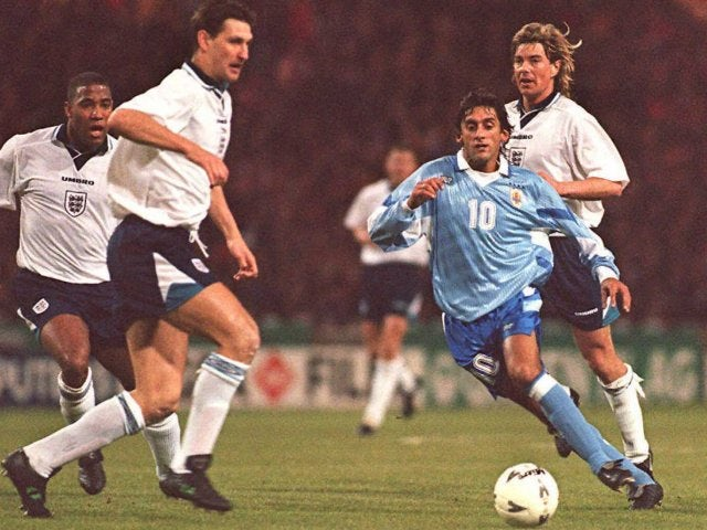 Uruguay international Enzo Francescoli in action against England on March 29, 1995.
