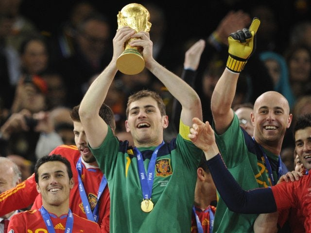 Goalkeeper and captain Iker Casillas lifts the World Cup for Spain on July 11, 2010.