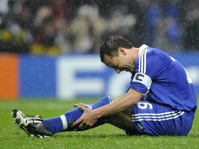 Chelsea captain John Terry slips after taking a penalty during the Champions League final on May 21, 2008.
