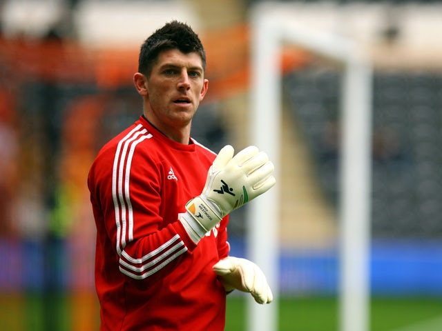 Sunderland's Keiren Westwood warming up during the Barclays Premier League match between Hull City and Sunderland at KC Stadium on November 02, 2013