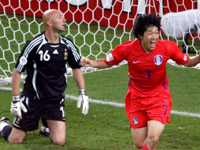 Former Manchester United midfielder Park Ji-sung celebrates scoring for South Korea against France on June 18, 2006.