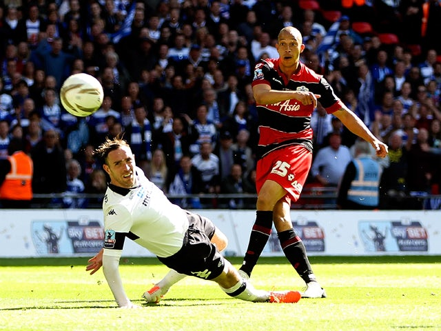 Bobby Zamora of QPR scores the winning goal during the Sky Bet Championship Playoff Final match between Derby County and Queens Park Rangers at Wembley Stadium on May 24, 2014