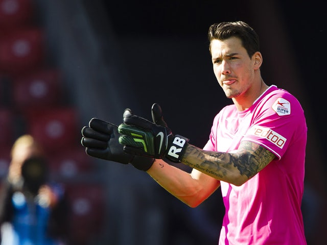 Grasshopper Club goalkeeper Roman Buerki reacts during the Swiss Super League football match between Grasshopper Club and BSC Young Boys held at the Letzigrund stadion on May 4, 2014