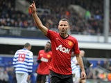 Ryan Giggs celebrates scoring for Manchester United against QPR on February 25, 2013.
