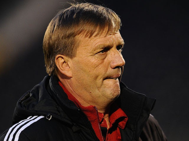 Coach of Fulham U18 Steve Wigley looks on during the FA Youth Cup Semi Final second leg match at Craven Cottage on April 7, 2014