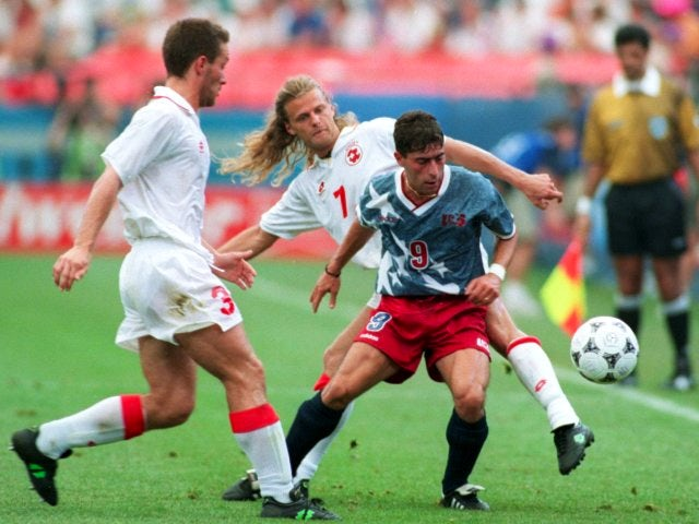 USA's Tab Ramos in action against Switzerland at the World Cup on June 18, 1994.