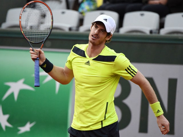 Great Britain's Andy Murray reacts during his French tennis Open third round match against Germany's Philipp Kohlschreiber at the Roland Garros stadium in Paris on May 31, 2014
