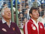 Brian Clough and Peter Taylor sit on the touchline prior to Nottingham Forest's European Cup final against Malmo on May 30, 1979.