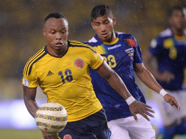 Defender Camilo Zuniga in action for Colombia against Ecuador on September 06, 2013.