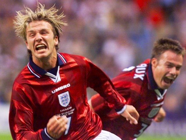 David Beckham celebrates scoring for England against Colombia on June 26, 1998.