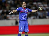 Nice's Colombian goalkeeper David Ospina reacts during the French L1 football match between OGC Nice and Stade de Reims, on April 26, 2014
