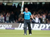 Jos Buttler of England celebrates his century during the 4th Royal London One Day International match between England and Sri Lanka at Lord's Cricket Ground on May 31, 2014
