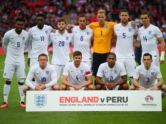 England team to face Peru in a friendly on May 30, 2014.
