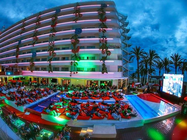 A shot of the Ushuaia Beach Hotel during the Heineken Ibiza Final on May 24, 2014