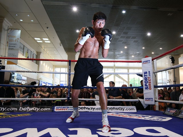 Jamie McDonnell works out prior to the IBF and WBA super-middleweight champion Carl Froch work out at Broadmarsh Shopping Centre on May 26, 2014