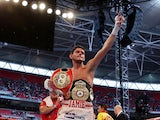 Jamie McDonnell celebrates his victory over Tabttimdaeng Na Rachawat during their WBA World Bantamweight Championship bout at Wembley Stadium on May 31, 2014