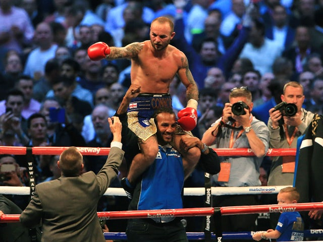 Kevin Mitchell of England celebrates his win against Ghislain Maduma of Canda at Wembley Stadium on May 31, 2014