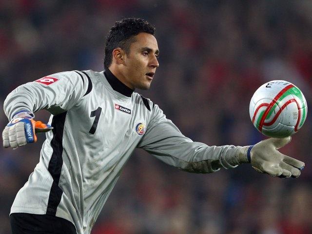Costa Rica goalkeeper Keylor Navas makes a clearance on February 29, 2012.