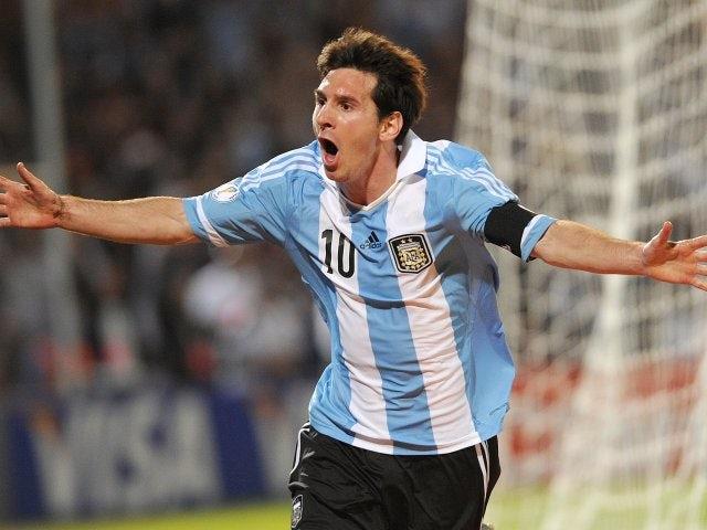 Lionel Messi celebrates scoring for Argentina against Uruguay on October 12, 2012.