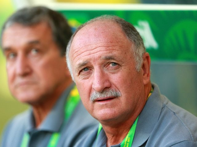 Brazil coach Luis Felipe Scolari sits on the bench on June 26, 2013.