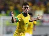 Barcelona striker Neymar celebrates scoring for Brazil on October 13, 2012.