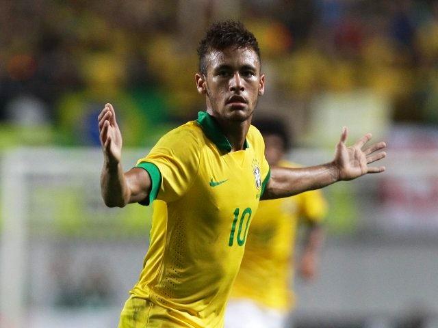 Barcelona striker Neymar celebrates scoring for Brazil on October 13, 2012.