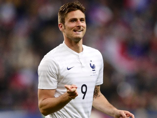 Arsenal striker Olivier Giroud celebrates scoring for France against Norway on May 27, 2014.