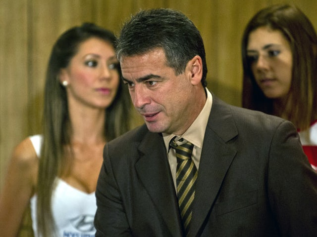 The new coach of the Peruvian football team, Uruguayan Pablo Bengoechea, arrives for a press conference in Lima on March 12, 2014